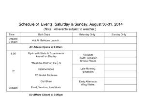 Air Affaire Schedule